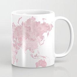 Pink watercolor world map, Melit Coffee Mug