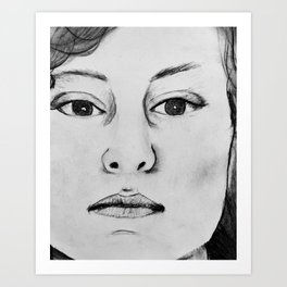 1980s Retro Art Charcoal Sketch L A Portrait Art Print
