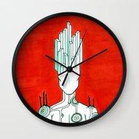 malachite Wall Clocks featuring Malachite by Cynical Woman