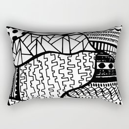 Free Hand Drawn Random Black and White Patterns Rectangular Pillow