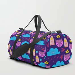 Whimsical fox rain and hearts abstract pattern Duffle Bag