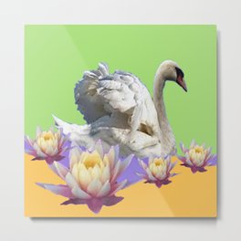 White Swan & Water Lilies Green Art Patterns Metal Print