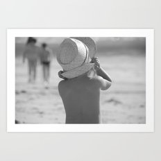 Kid with hat N&B Art Print