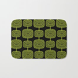 Mid Century Modern Atomic Rings Pattern Black and Chartreuse Bath Mat
