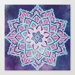 Blueberry Sorbet Mandala Canvas Print