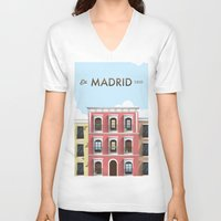 madrid V-neck T-shirts featuring Madrid by Sara Enriquez