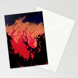 Red, Orange and Black Halloween Night; Fluid Abstract 5 Stationery Cards