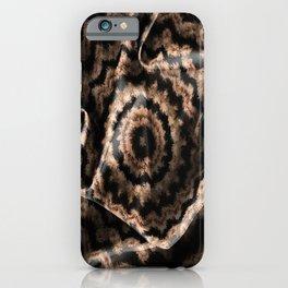 Kaleidoscope Beige Circular Fabric Texture Pattern on Black iPhone Case