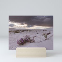 Sunrays and Storm Clouds at White Sands National Monument Mini Art Print