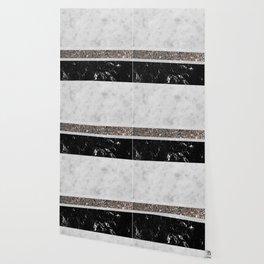 White and Black Marble Silver Glitter Stripe Glam #1 #minimal #decor #art #society6 Wallpaper