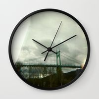 marc johns Wall Clocks featuring St. Johns Bridge by AmyLange