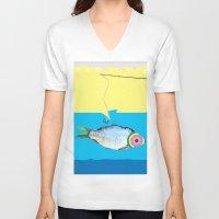 fishing V-neck T-shirts featuring Fishing by ilkai