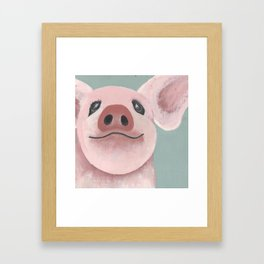 Original Painting - Farm Friends - Baby Pig - Cute Pig Painting Framed Art Print