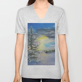 Michigan Pines at Sunset Unisex V-Neck