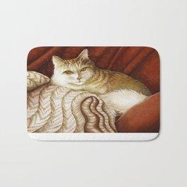 Long-haired cat reclining Bath Mat