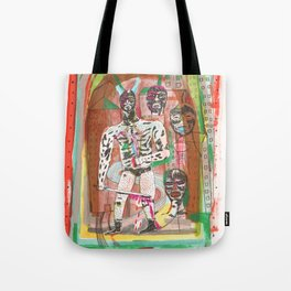 Haa wrestling man with horns and swords Tote Bag