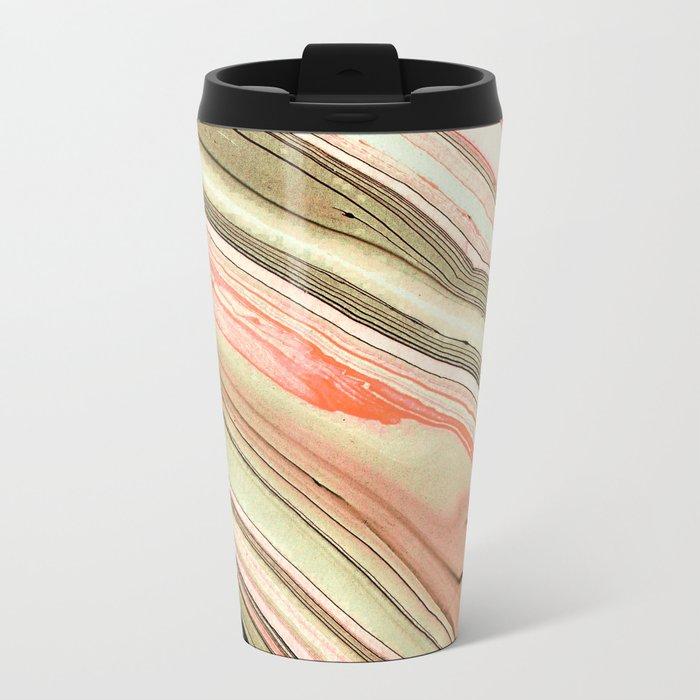 Watercolor strokes on wood Metal Travel Mug