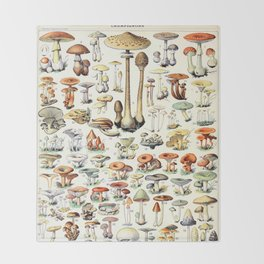 Adolphe Millot - Champignons B - French vintage poster Throw Blanket