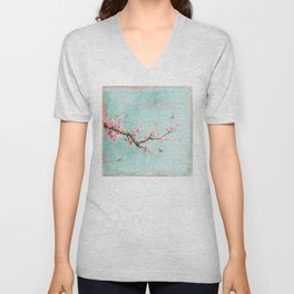 Live life in full bloom - Romantic Spring Cherry Blossom butterfly Watercolor illustration on aqua Unisex V-Neck