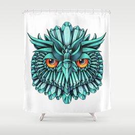 Crystal Owl Blue Shower Curtain