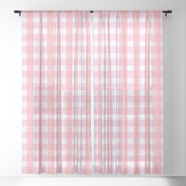 Pink Gingham Sheer Curtain