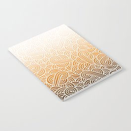 Ombre orange and white swirls doodles Notebook