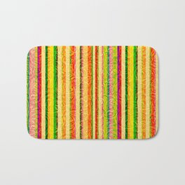 Colorful Stripes and Curls Bath Mat