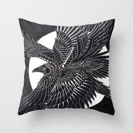 Moonlight Raven Throw Pillow