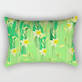 Daffodils in green Rectangular Pillow
