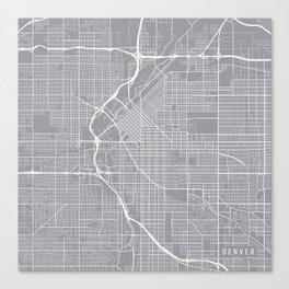 Denver Map, Colorado USA - Pewter Canvas Print