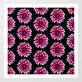 Dahlias Pattern  in Pink, Red Art Print