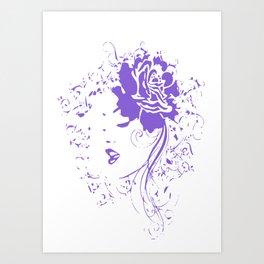Purple Vintage Flower Lady Art Print