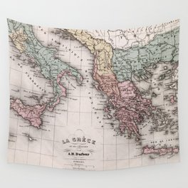 Vintage Map of Greece and Italy (1852) Wall Tapestry