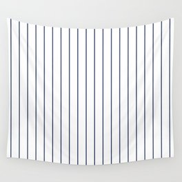 Classic Blue Baseball Stripe Lines On White Wall Tapestry