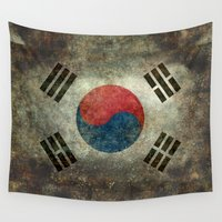 korea Wall Tapestries featuring National flag of South Korea, officially the Republic of Korea - Retro style by Bruce Stanfield