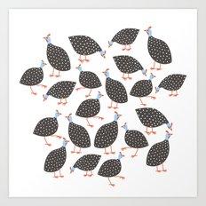 Guinea Hens Art Print