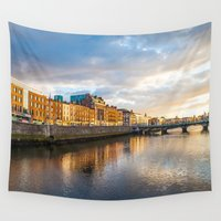 dublin Wall Tapestries featuring Dublin,  Liffey River at Sunset by Diandra