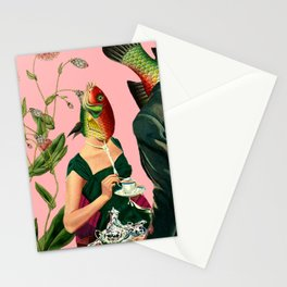 fish soul mate pink #collage Stationery Cards