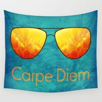 carpe diem Wall Tapestries featuring Carpe Diem by Leah M. Gunther Photography & Design