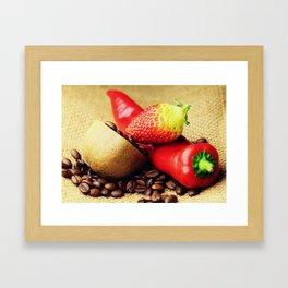 Coffee beans Kivi strawberry pepper Framed Art Print