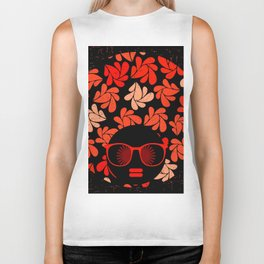 Afro Diva : Coral Red Biker Tank
