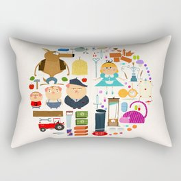 Alice in wonderland + Three Little Pigs aka ALIPIGS Rectangular Pillow