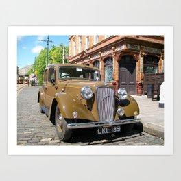 Vintage car and English Pub Art Print