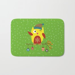 Cute Owl sitting on a branch with christmas baubles, Winter, X-mas Design Bath Mat