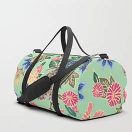 Peacock Floral in Mint Duffle Bag