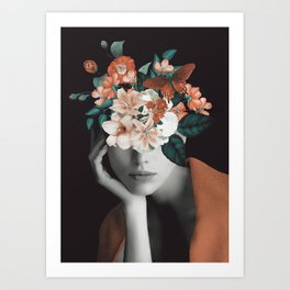 WOMAN WITH FLOWERS 7 Art Print