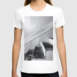 wood stairway with wood background in black and white T-shirt
