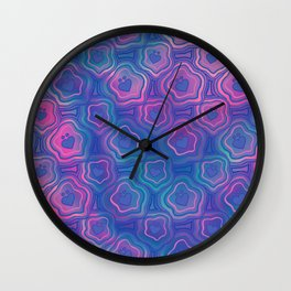'I Love You Umlaut' Valentine's Pattern - Deep Coral Reef Wall Clock