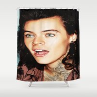 harry styles Shower Curtains featuring Harry Styles by CelebrityMerch