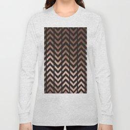 Rose gold and black chevron Long Sleeve T-shirt